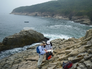 Colleagues of Hong Kong Geological Survey sometimes travel up and down hills to conduct geological survey in remote areas of Hong Kong..