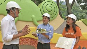 According to Landscape Architect of the ArchSD, Mr CHAN Chun-ho (centre), and PCPA Play Environment Development Officer, Ms Florence CHIU (right), children including those from special schools have been invited to participate in the design of some of the play equipment, such as the sensory walls, so that they can meet the needs of real users..