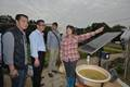 A farmer explains to Mr Chan (second left) a solar powered device..