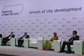 The Secretary for Development, Mr Paul Chan (first right), attends the IV Moscow Urban Forum in Moscow yesterday (December 11, Moscow time) and speaks in the opening plenary session on themes including drivers of city development, relationships with neighbouring cities and the relationship between national policies and city development..