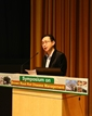 The Secretary for the Development, Mr Eric Ma, delivers a speech at the Symposium on Brown Root Rot Disease Management today (March 18)..