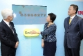 The Secretary for Development, Mrs Carrie Lam (centre), officiates at the ballot ceremony for Category 1 buildings under