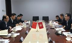 The Secretary for Development, Mr Eric Ma (first right), today (February 20) pays courtesy call on the Vice-Minister of the Ministry of Housing and Urban-Rural Development in Beijing, Mr Yi Jun (first left), to exchange views on the Mainland and Hong Kong Closer Economic Partnership Arrangement, and the Belt and Road Initiative..