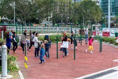 The Happy Valley Recreation Ground, which was renovated by the Drainage Services Department following the completion of the Happy Valley Underground Stormwater Storage Scheme..