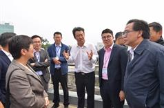 The Secretary for Development, Mr Eric Ma (third left), joins a duty visit to the Dongjiang River Basin by Legislative Council (LegCo) members today (April 15). Picture shows Mr Ma and the LegCo members receiving a briefing at the Taiyuan Pumping Station in Dongguan on the operation of the system for transporting Dongjiang water to Hong Kong..