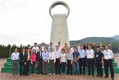 The Secretary for Development, Mr Eric Ma (front row, sixth left), joins a duty visit to the Dongjiang River Basin by Legislative Council (LegCo) members today (April 15). Picture shows Mr Ma; the Permanent Secretary for Development (Works), Mr Hon Chi-keung (front row, sixth right); the Director of Water Supplies, Mr Enoch Lam (front row, second left), and the LegCo members at the main dam of the Shenzhen Reservoir before concluding the two-day duty visit..