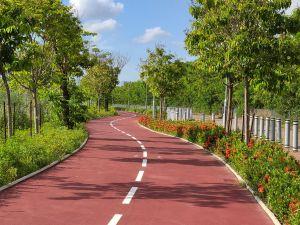 图为连接元朗至上水的单车径,元朗壆围南路和攸壆路部分路段刚于上月启用,余下路段预计今年9月或之前开放。届时,屯门至马鞍山整段60公里长主干线路段将会完成。.