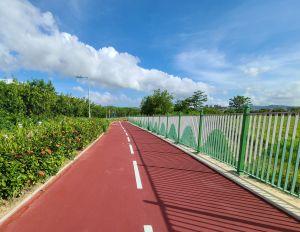 在兴建安全的单车径同时,工程团队亦不忘美化设施,如单车径旁的栏杆。.