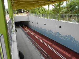 在技术可行的情况下,工程团队会兴建单车桥和单车隧道,以尽量减少踏单车人士需要下车过马路的情况。图为元朗锦壆路单车隧道。.