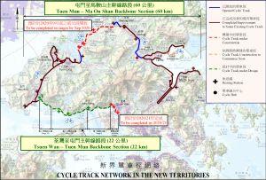 图示「新界单车径网络」,由屯门至马鞍山主干线和荃湾至屯门主干线组成。.