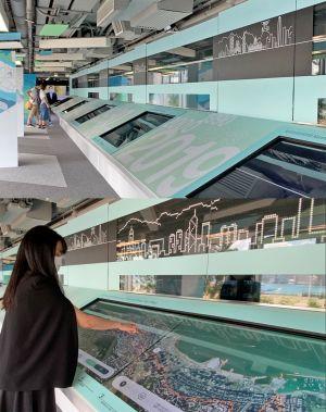 三楼更新的展品包括「规划里程碑」(上图)和「海岸及天际线」(下图)互动展品。.