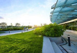 空中花园内设有三个各具特色的广场,分别为「花园广场」、「草地广场」及「喷泉广场」。图为「草地广场」。.