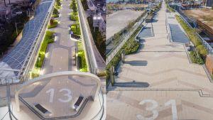 空中花园以航空为设计概念,例如花园两端写上的「13」和「31」两组数字,分别象征前机场跑道两端用作识别方向的「一三跑道」和「三一跑道」标记。.