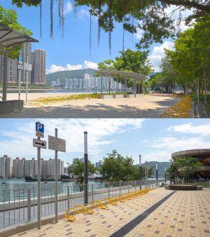荃湾海滨段单车径设有两个休息处,分别位于荃湾海滨公园(上图)及湾景花园(下图)对出的海旁。.